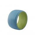 Manchette bracelet cuir bleu SYLVIE GM