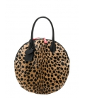 Round leather handbag LELE LEOPARD