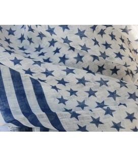 Echarpe lin motifs etoiles FLAG