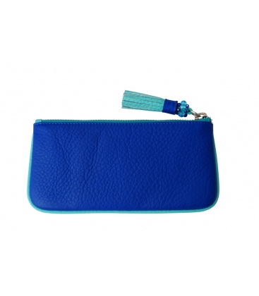 Small blue leather pouch TASSLE
