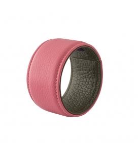 Bracelet manchette cuir rose SYLVIE gm