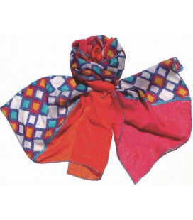 Foulard soie Orange et rose LéO ATLaNTE